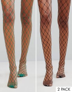 Read more about Asos 2 pack oversized fishnet tights in black and green - multi