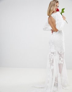 Read more about Asos edition backless maxi wedding dress with beautiful embroidery - white