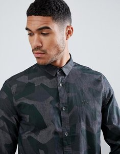 Read more about Armani exchange camo chambray shirt in grey khaki - grey