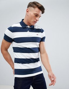 Read more about Hollister block stripe seagull logo polo in navy - navy