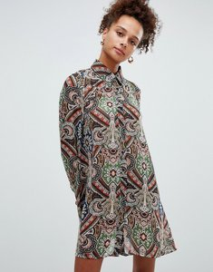 Read more about Glamorous printed shirt dress - rust tan paisley