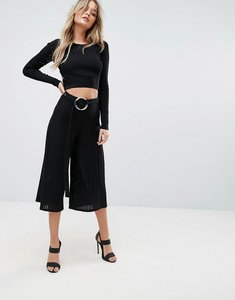 Read more about Prettylittlething ring detail culottes - black