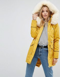 Read more about Brave soul coaster parka coat with contrast pu trims - mustard