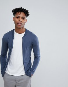 Read more about Asos design knitted muscle fit bomber jacket in blue - blue