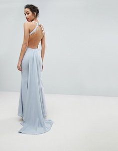 Read more about Jarlo open back maxi dress with train detail - soft grey