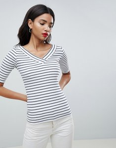 Read more about Esprit v neck ribbed stripe top - white
