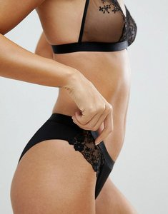 Read more about Asos peony applique lace brazilian pant - black