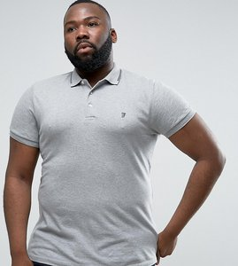 Read more about French connection plus polo shirt with twin tip collar - grey