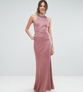 Read more about Little mistress tall embellished high neck fishtail maxi dress - canyon rose