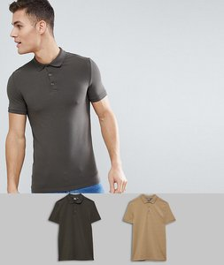 Read more about Asos design muscle fit polo in jersey 2 pack save - ckhaki bmarl