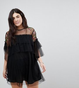 Read more about Influence plus embroidered mesh detail shift dress - black floral