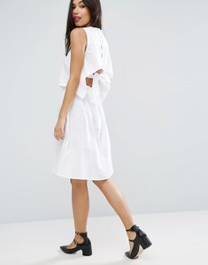 Read more about Asos cotton dress with open back and tie detail - white