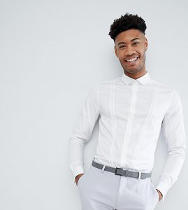 Read more about Asos design tall wedding slim fit sateen shirt with v pleat detail and double cuff - white