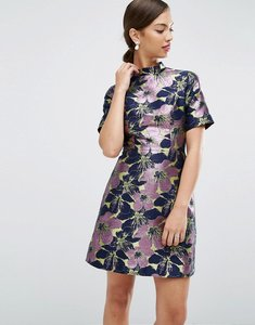 Read more about Asos high neck mini dress in floral jacquard - multi