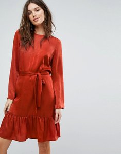 Read more about Y a s tie up frill hem dress - red