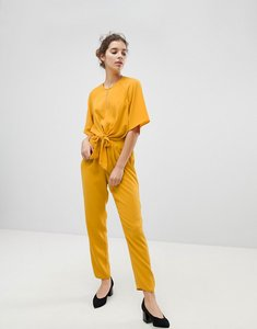 Read more about Miss selfridge tie front jumpsuit - marigold