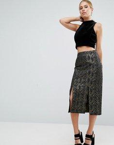 Read more about Asos metallic animal jacquard pencil skirt - multi