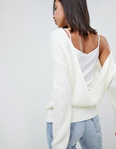 Read more about Asos design chunky jumper with v back - white
