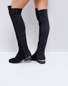 Read more about Asos knight stretch over the knee boots - black