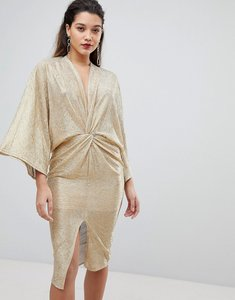Read more about Flounce london wrap front kimono midi dress in gold - gold
