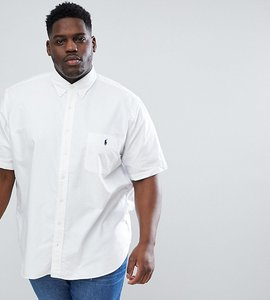 Read more about Polo ralph lauren big tall short sleeve oxford shirt button down collar player logo in white - whit