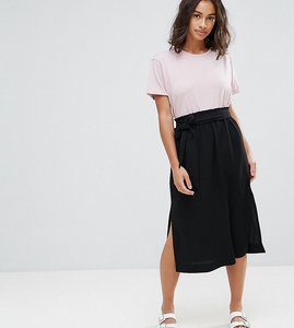 Read more about Asos petite paper bag waist split side midi pencil skirt - black