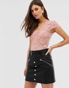 Read more about Stradivarius all-over lace t-shirt in pink