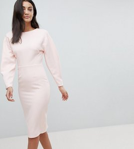 Read more about Asos tall long sleeve midi pencil dress - blush