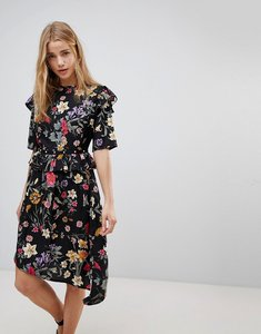 Read more about Influence floral asymmetric midi dress with studded belt - multi