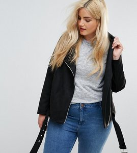 Read more about New look curve suedette biker jacket - black
