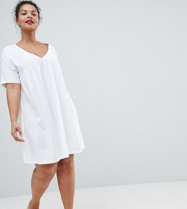 Read more about Asos design curve ultimate cotton smock dress - white