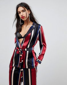 Read more about Y a s striped blazer with waist belt - multi