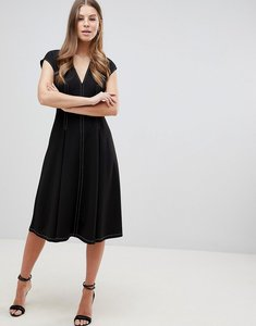 Read more about Asos design fit and flare midi dress with contrast stitching