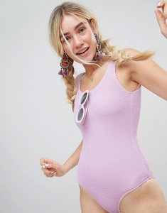 Read more about Monki ribbed swimsuit - purple