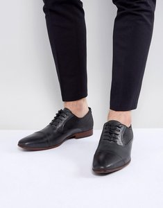Read more about Asos oxford shoes in black leather with black suede detail - black