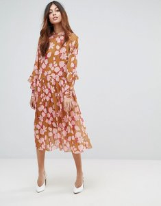 Read more about Y a s floral midi dress with ruffles - multi