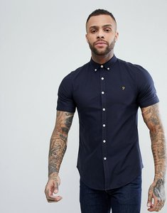 Read more about Farah brewer slim fit short sleeve oxford shirt in navy - 454 navy