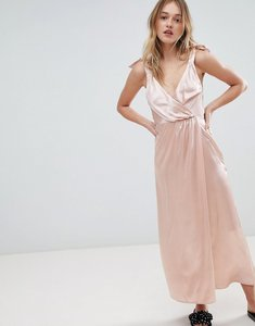 Read more about Monki satin tie strap wrap maxi dress - pink