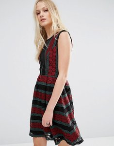 Read more about Hazel mesh insert printed dress - burgundy