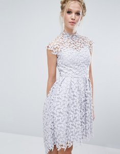 Read more about Chi chi london high neck dress in cutwork lace - grey