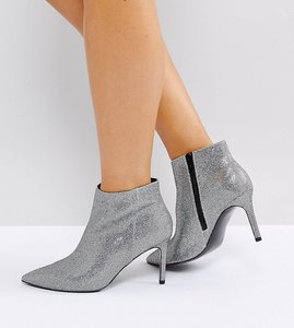 Read more about Asos emberly wide fit pointed ankle boots - silver
