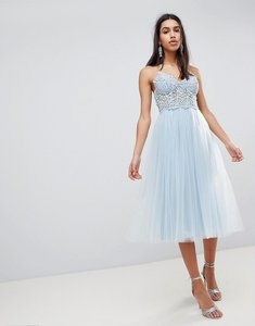 Read more about Asos premium lace cami top tulle midi dress - ice blue