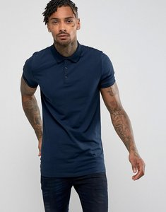 Read more about Asos longline muscle polo in jersey - navy
