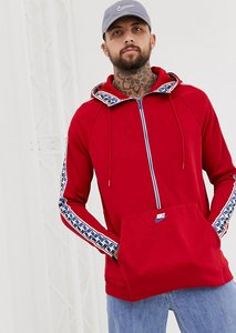 Read more about Nike half zip hoodie with taped side stripe in red aj2296-687 - red