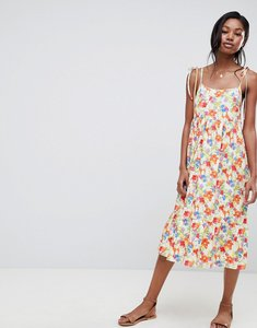 Read more about Asos design floral print midi smock dress with tie straps - floral print