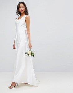 Read more about Asos bridal soft drape front maxi dress - white