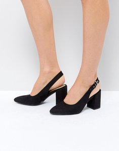 Read more about London rebel high vamp sling back heel shoe - black micro