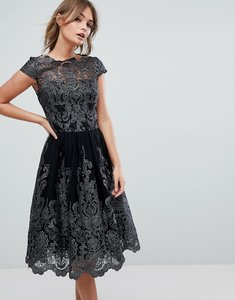 Read more about Chi chi london premium lace high low dress - black