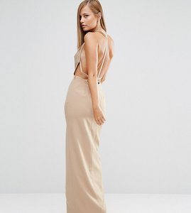 Read more about Fame and partners sleek maxi dress with faux pearl back - tan