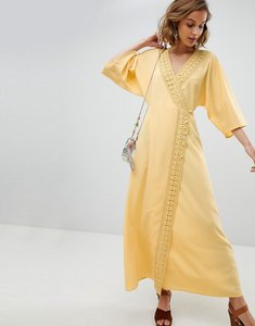 Read more about Asos design maxi dress with crochet trim - yellow